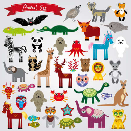 Set of funny cartoon animals character on a white background