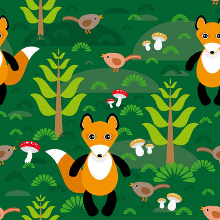 Seamless pattern fox and forest tree mushrooms kids background Vector