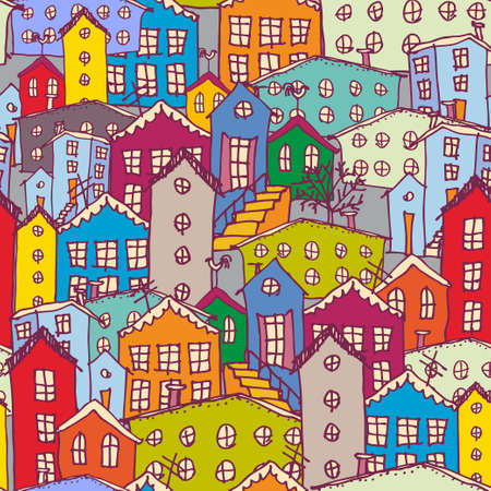Cityscape seamless pattern. Sketch. orange blue purple.  Vector