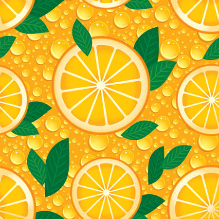 Orange with green leaves seamless pattern.  イラスト・ベクター素材