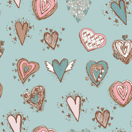 Seamless pattern with hearts. Blue pink brown.  Vector