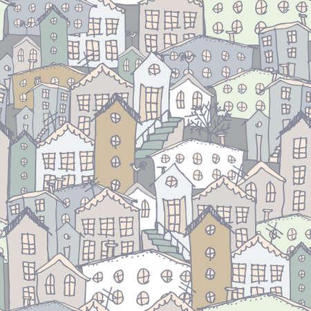 Urban winter landscape seamless pattern. Sketch Gray blue.  Vector