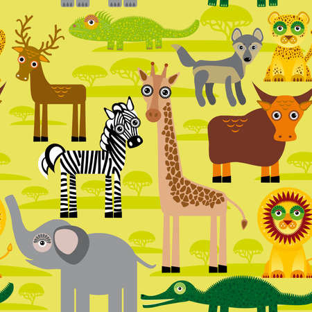 Seamless pattern background with African animals.  Vector