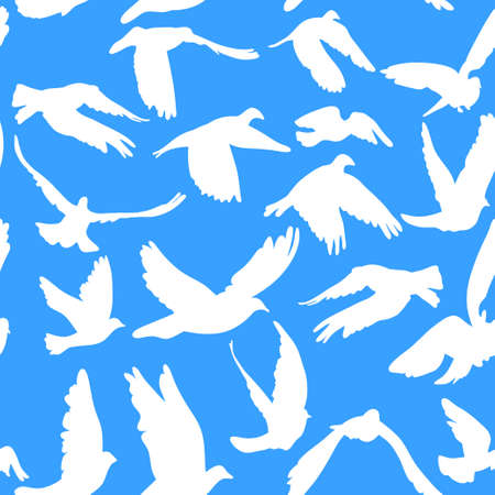Doves and pigeons seamless pattern on blue background for peace concept and wedding design. Vector Vector