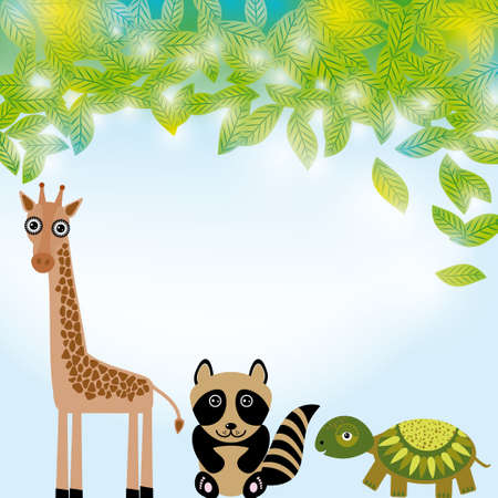 Giraffe,  raccoon and  turtle funny cartoon animals character. Summer background with green leaves. vector Vector
