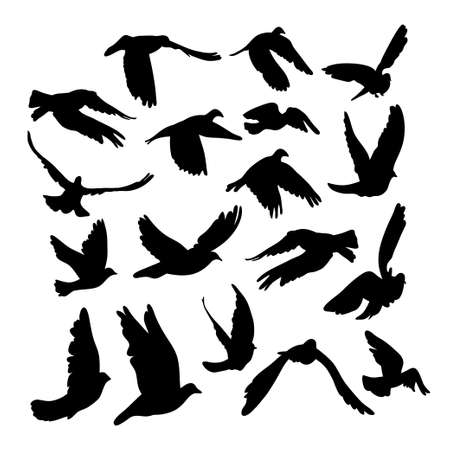 peace concept: Doves and pigeons set for peace concept and wedding design. Flying dove sketch set. Vector