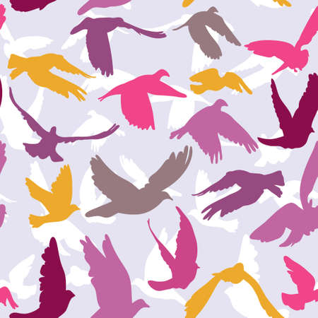 Doves and pigeons seamless pattern on lilak background for peace concept and wedding design. Vector Vector