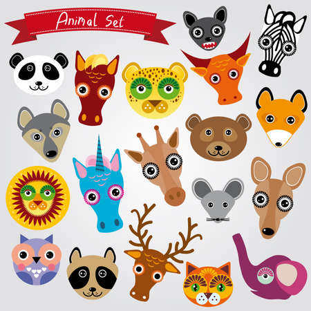 Set of funny animals muzzle. vector illustration Vector