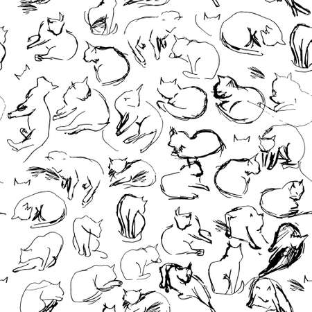 Freehand sketch seamless patern with black cats on a white background. vector