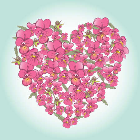 beautiful pink pansy heart Background for Valentines Day design. vector Vector