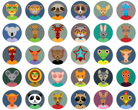 Set of animals faces circle icons set in Trendy Flat Style. zoo infographics design. Vector
