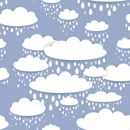 Seamless pattern with white clouds and raindrops on a blue background. vector Vector