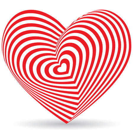 Red heart on a white background. Optical illusion of 3D three-dimensional volume. vector