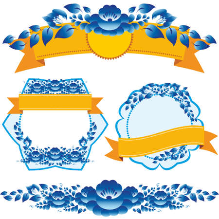 Vintage orange ribbon and blue flowers design elements and page decoration to embellish your layout. vector Vector
