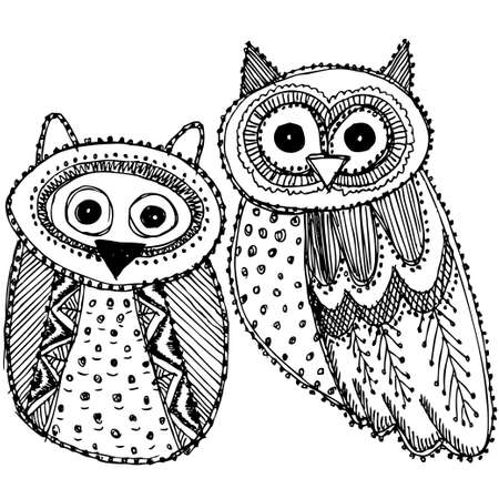 Decorative Hand dravn Cute Owl Sketch Doodle black and white. Vector