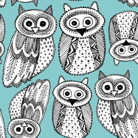 Decorative Hand dravn Cute Owl Sketch Doodle black blue seamless pattern. Vector Vector