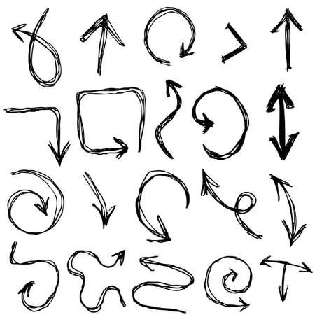 Decorative Hand dravn Sketch Doodle black arrows on a white background. Vector Vector