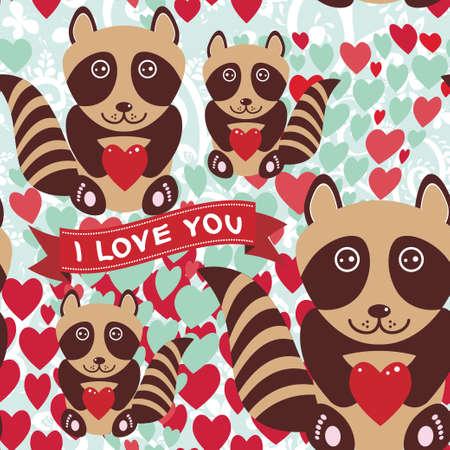 Lovely cartoon seamless background pink heart, raccoon, love. vector Vector