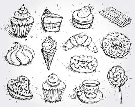 Hand drawn confectionery set croissant Cupcake candy marshmallow ice cream cake donut and coffee. vector