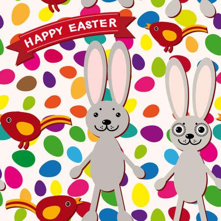 Happy Easter seamless pattern. Rabbit eggs bird ribbon. vector Vector