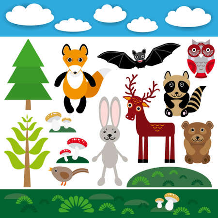 Funny set of cute wild animals, forest and clouds. Fox bear rabbit raccoon bat deer owl bird. vector Vector