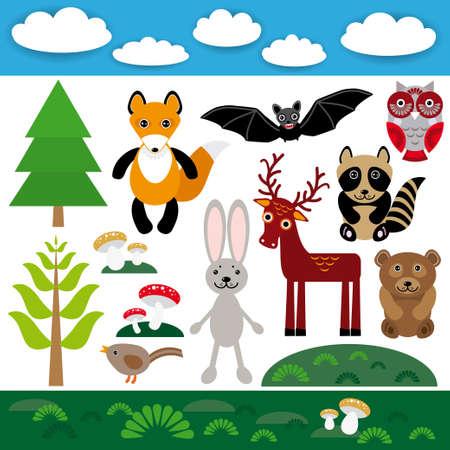 Funny set of cute wild animals, forest and clouds. Fox bear rabbit raccoon bat deer owl bird. vector Vector