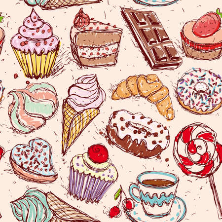 Hand drawn confectionery seamless pattern croissant Cupcake candy marshmallow ice cream cake donut and coffee. vector