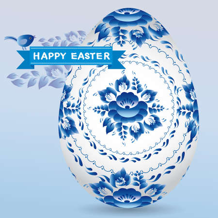 Vintage card with egg gzhel blue floral ornament, ribbon chick. Happy Easter. vector