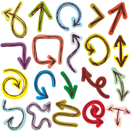 Decorative Hand dravn Sketch Doodle colorful arrows on a white background. Vector