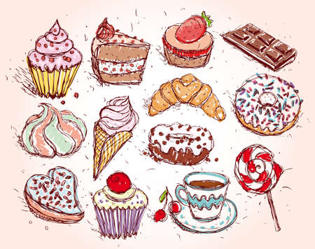 Hand drawn confectionery set croissant Cupcake candy marshmallow ice cream cake donut and coffee.