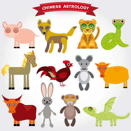 chinese astrology: Chinese astrology set of funny animals on a white background. vector Illustration