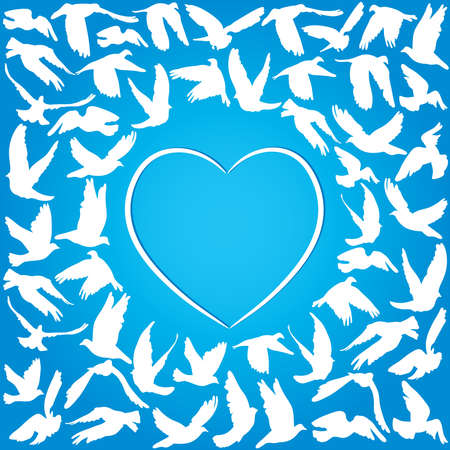 Flying dove for peace concept and wedding design. white heart on a blue background. Vector illustration Vector