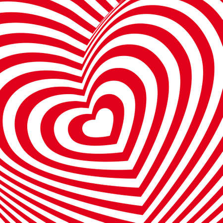Red heart Valentines day card. Three-dimensional volumetric image. Vector Vector