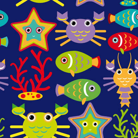 Seamless pattern with marine animals on a dark blue background. vector Vector