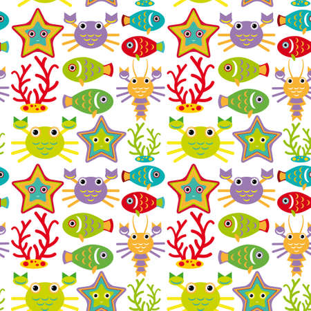 Seamless pattern with marine animals on a white background. vector Vector