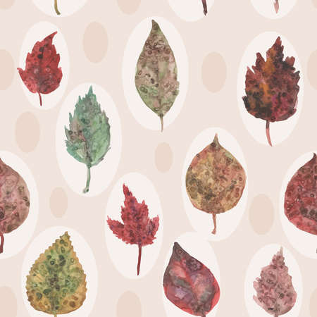 Watercolor autumn leaves seamless pattern, paint stains. Vector