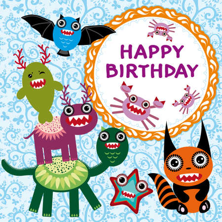 Funny monsters party card design. vector Vector