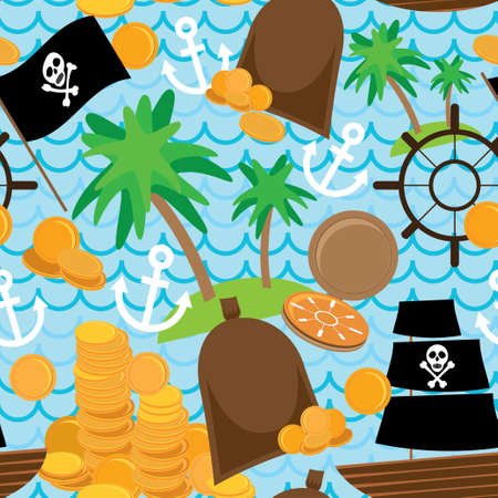 Seamless background pirate island colorful kids retro pattern. vector Vector