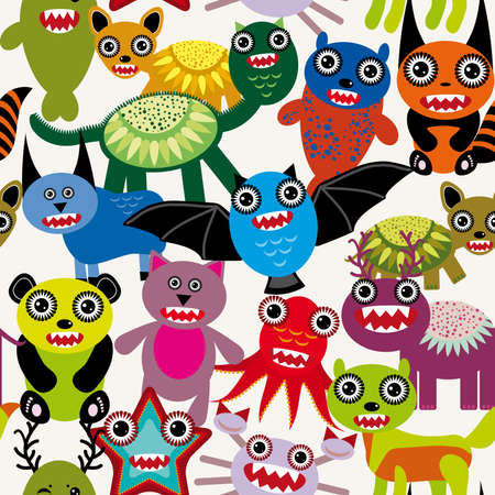 Cute cartoon Monsters seamless pattern on a white background. vector Vector