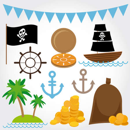 Marine Pirate Illustrations set on white background. Vector Vector