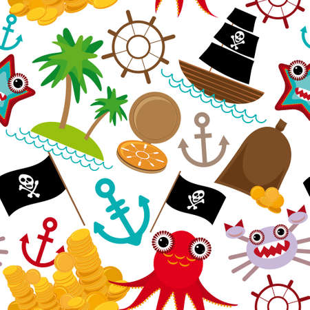 Marine seamless pirate pattern on white background. Vector Vector