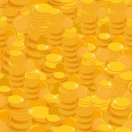 texture with golden coins seamless pattern. Vector Vector
