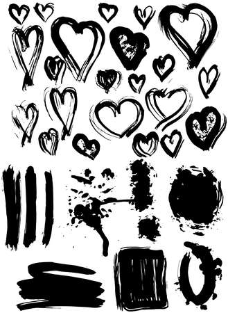 Blots Splash banners and heart set. Grunge texture vector Vector