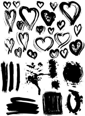 Blots Splash banners and heart set. Grunge texture vector Vector