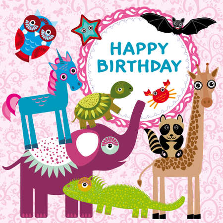 Funny animals party card design on a pink floral background. vector Vector