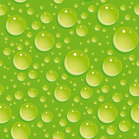 effervescent: Seamless green pattern with water drops. vector
