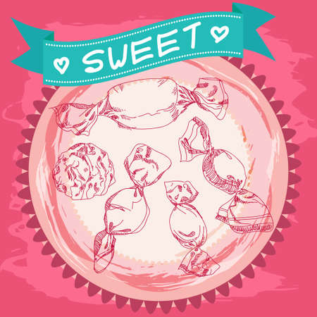 cotton candy: Candy sketch. Vintage Poster. Pink and blue. Vector Illustration