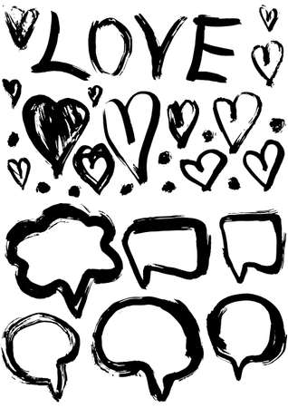 grunge set of speech bubbles and hearts. grungy decoration effects. vector Vector