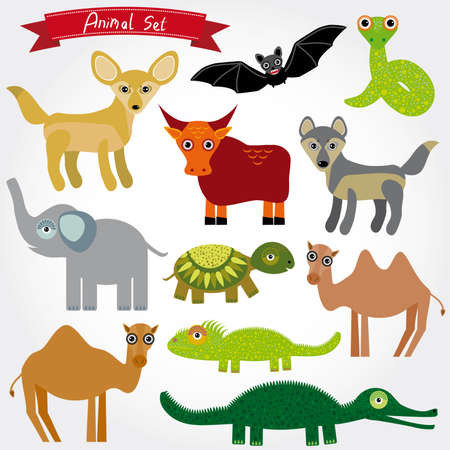 Set of funny cartoon animals character on  white background. zoo. vector Vector