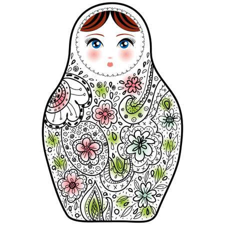 ロシアの人形マトリョーシカおばあさん白い背景の上にスケッチします。ベクトル